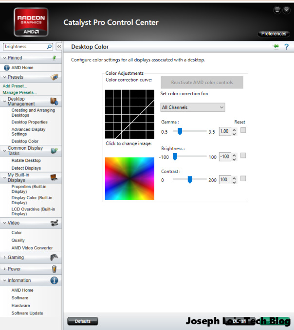 adjusting the brightness using catalyst pro control center