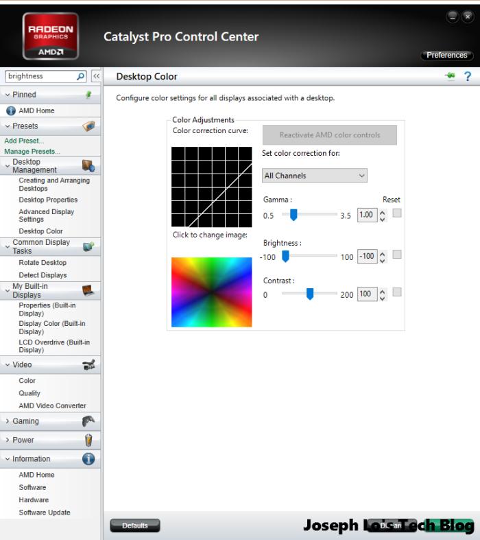 adjusting the brightness using catalyst pro control center