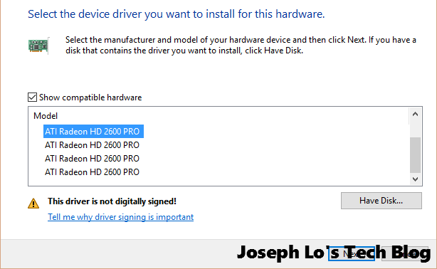 All the HD2600 Pro available in compatible hardware list