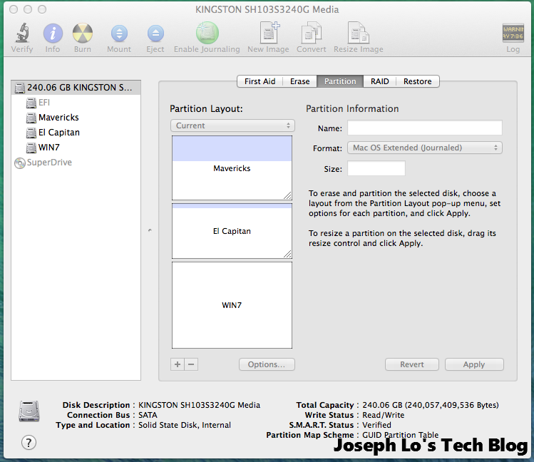 Disk Utility showing newly created partition