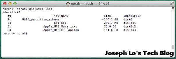 Terminal - Disk utility list