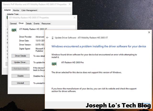 Windows 10 Error in installing ATI 2600 Pro driver