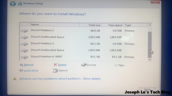 Windows partition screen 2